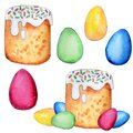 Hand drawn watercolor Easter set