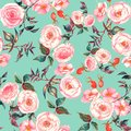 Hand drawn watercolor floral seamless pattern with tender pink roses in on the light blue background
