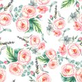 Hand drawn watercolor floral seamless pattern with tender pink roses in on the light blue background Royalty Free Stock Photo