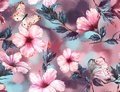 Hand-drawn watercolor floral seamless pattern with the tender white and pink hibiscus flowers and butterflies