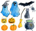 Hand drawn watercolor halloween set. Ghost, carved pumpkin, poison pot, broom, black cat, bat, spider, witch hat clip art isolated
