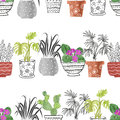 Hand drawn watercolor house plants in the pots. Royalty Free Stock Photo