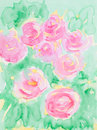 Hand drawn watercolor illustration of beautiful pink flowers surrounded by green leaves Stock Image
