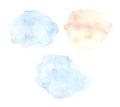 Hand drawn watercolor illustration. Blue and orange abstract