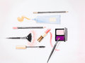 Hand drawn watercolor illustration of essential makeup products for a woman on white background Royalty Free Stock Images