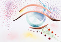 Hand drawn watercolor illustration of an eye with colorful psychedelic decorative makeup Royalty Free Stock Images