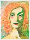 Hand drawn watercolor illustration of melancholic woman