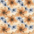 Hand drawn watercolor illustration seamless pattern hibiscus flo Royalty Free Stock Photo