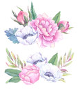 Hand drawn watercolor illustrations. Bouquets with spring leaves