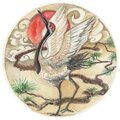 Hand drawn watercolor Japanese Red-crowned Crane or The Kushiro tattoo , Royalty Free Stock Photo