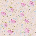 Pattern of watercolor thin twigs with blue and pink flowers on a pink background.