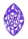 Hand drawn watercolor purple gemstone isolated