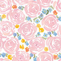 Hand drawn watercolor roses and cute little flowers seamless pattern.