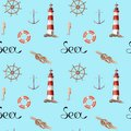 Hand drawn watercolor seamless patern with lighthouse and knot Royalty Free Stock Photo