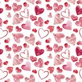Happy Valentine`s Day watercolor hearts background illustration. Seamless pattern
