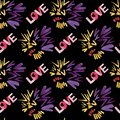 Love seamless pattern. Disco night. Abstract background. Puple and yellow colors and love lettering.
