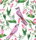 Hand-drawn watercolor seamless pattern with pink and white flowers and violet birds