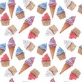 Watercolor seamless pattern with red, blue and white cupcakes and ice cream