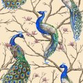 Hand drawn watercolor seamless pattern with wild peacocks and magnolia floral branches Royalty Free Stock Photo