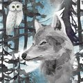 stock image of  hand drawn watercolor seamless pattern with wolf and owl in forest