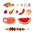 Hand drawn watercolor set of food for picnic, summer eating out and barbecue