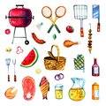 Hand drawn watercolor set of various objects for picnic, summer eating out and barbecue