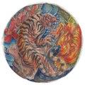 Hand drawn watercolor tiger and peony with sakura tattoo ,coloring book Royalty Free Stock Photo