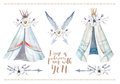 Hand drawn watercolor tribal teepee, isolated white campsite ten