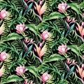 Hand drawn watercolor tropical bird flamingo seamless pattern . Exotic rose bird illustrations, jungle tree, brazil