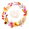 Hand drawn watercolor wreath of forest leaves, flowers, fruits and berries. Hello fall. Autumn abstract branches. Mapple