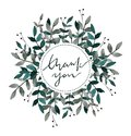 Hand drawn watercolor wreath. Thank you card with leaves and branches. Watercolor ready to use card. Save the date.