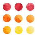 Hand drawn watrcolor circles of red, orange and yellow colors. Vector.