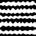 Hand drawn wavy lines seamless pattern, monochrome background