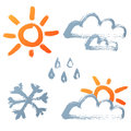 Hand drawn weather icons Stock Images