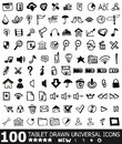 Hand-drawn web icon set Royalty Free Stock Images