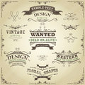 Hand drawn western banners and ribbons illustration of a set of like sketched far west design elements on vintage striped Royalty Free Stock Images