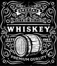 Hand drawn whiskey label with wooden barrel and floral calligraphic elements