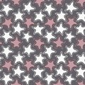 Hand drawn white and pink stars on dark gray background.