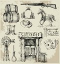 Hand drawn wild west set Stock Photography