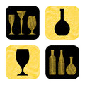 Hand drawn wine glass and bottle icon collection Stock Image