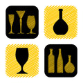 Hand drawn wine glass and bottle icon collection stock vector Royalty Free Stock Image