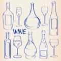 Hand Drawn Wine Icon Set Royalty Free Stock Photo