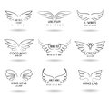 Hand drawn wings logo set. Vector doodle winged icons Royalty Free Stock Photo