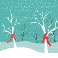Winter trees with red Christmas scarfs in snow nature. Vector illustration on blue snowing background Royalty Free Stock Photo