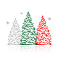 Hand drawn winter trees for your design Royalty Free Stock Image