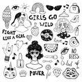 Hand drawn woman icons sketch set. Decorative feminism icons.