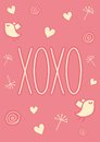 Hand drawn xoxo card valentines day template that reads hugs and kisses it has hearts birds doodles and dandelions it can be used Royalty Free Stock Photo