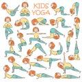 Hand-drawn Yoga kids set Royalty Free Stock Photo