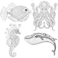 Hand drawn zentangle artistic Octopus, Sea Horse, Whale, Fish fo