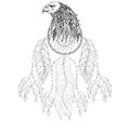Hand drawn zentangle Dreamcatcher with Eagle head for adult colo Royalty Free Stock Photo